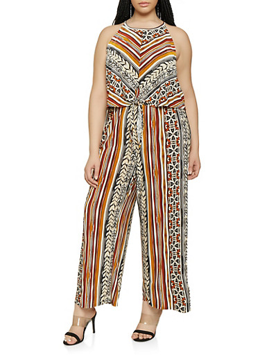 Plus Size Printed Tie Front Overlay Jumpsuit,MULTI COLOR,large