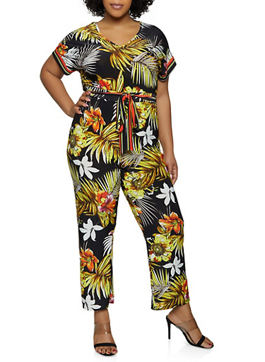 Plus Size Tropical Straight Leg Jumpsuit,GREEN,large