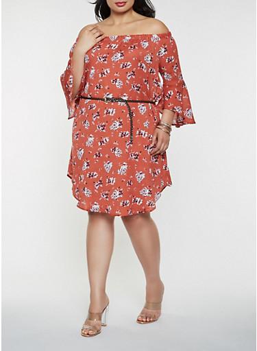 Plus Size Floral Off the Shoulder Dress,RUST,large