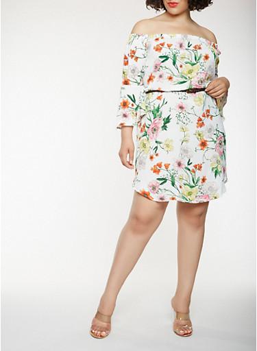 Plus Size Floral Belted Off the Shoulder Dress,IVORY,large