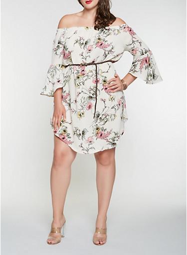 Plus Size Floral Off the Shoulder Dress,BEIGE,large