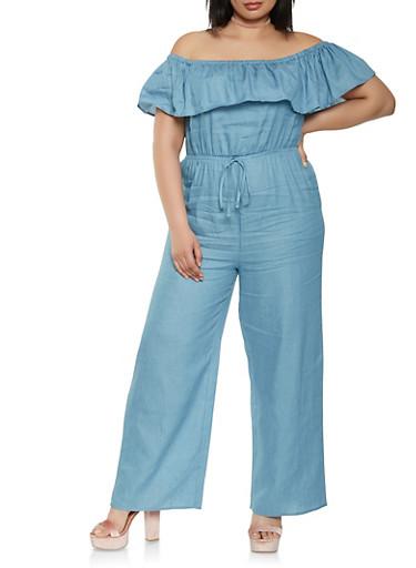 Plus Size Off the Shoulder Chambray Jumpsuit,BLUE,large