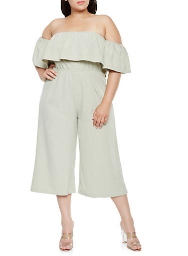 Plus Size Off the Shoulder Gaucho Jumpsuit,SAGE,large