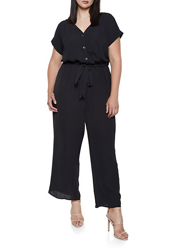 Plus Size Textured Crepe Wide Leg Jumpsuit,BLACK,large