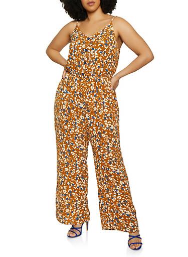 Plus Size Printed Crepe Knit Jumpsuit,GOLD,large