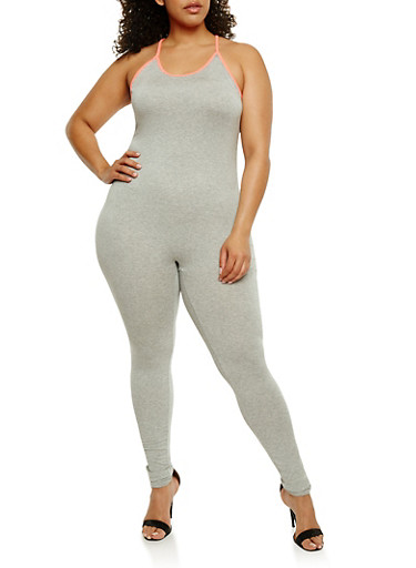Plus Size Catsuit with Contrast Trim,HEATHER/NEON PINK,large