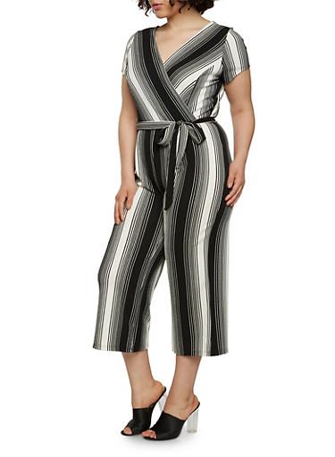 Plus Size Striped Faux Wrap Capri Jumpsuit with Short Sleeves,BLACK/WHITE,large