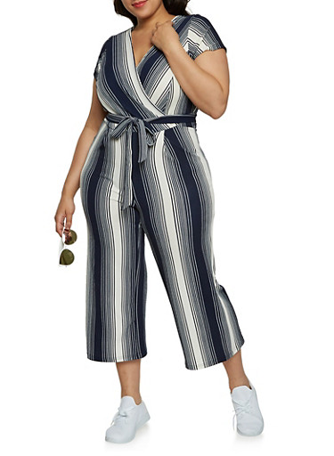 Plus Size Striped Faux Wrap Jumpsuit with Short Sleeves,NAVY,large