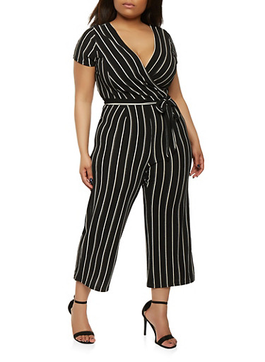 Plus Size Striped Faux Wrap Jumpsuit with Short Sleeves,WHT-BLK,large