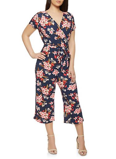 Plus Size Faux Wrap Capri Jumpsuit | Tuggl