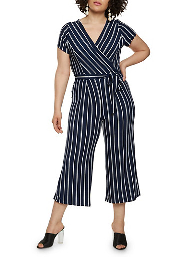 Plus Size Striped Faux Wrap Capri Jumpsuit with Short Sleeves,NAVY,large