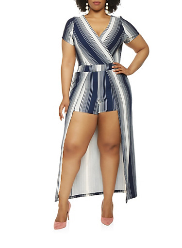 Plus Size Striped Faux Wrap Maxi Romper with Sleeves,NAVY,large