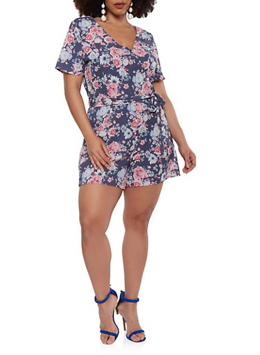 Plus Size Floral Faux Wrap Romper with Short Sleeves,NAVY,large