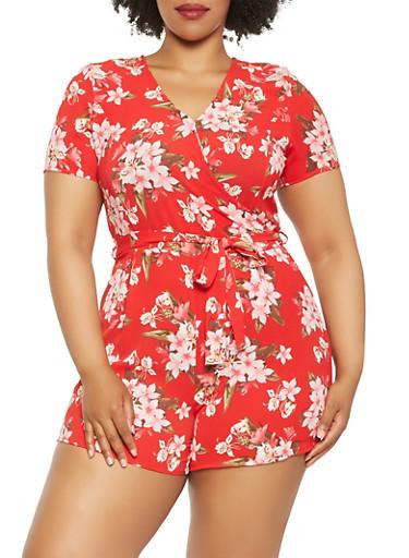 Plus Size Floral Faux Wrap Romper,RED,large