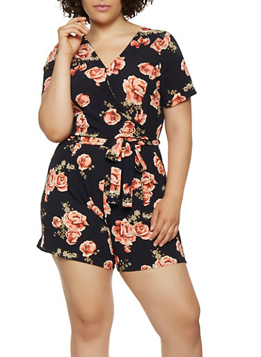 Plus Size Floral Crepe Knit Faux Wrap Romper,NAVY,large