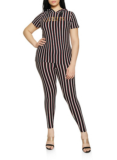 Plus Size Striped Foil Queen Hooded Top and Leggings,BLACK/WHITE,large