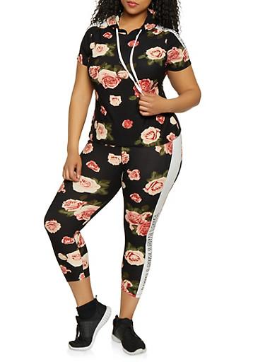 Plus Size Floral Love Trim Top and Leggings Set,BLACK,large