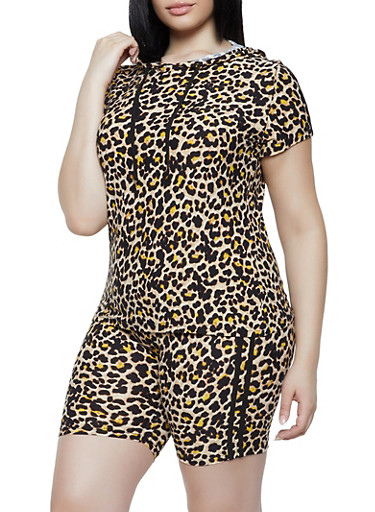 Plus Size Leopard Hooded Top and Bike Shorts,BLACK,large