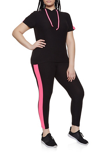 Plus Size Side Stripe Top and Leggings,BLACK,large