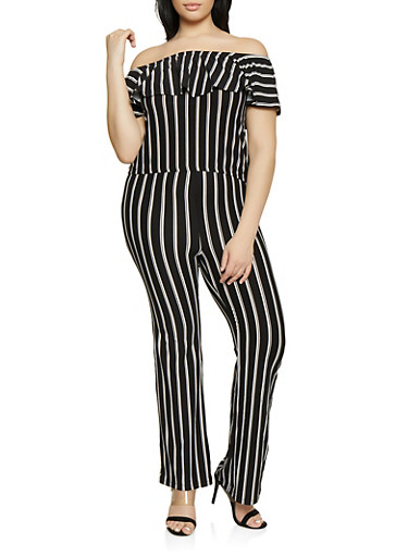 Plus Size Striped Off the Shoulder Top with Flared Pants,BLACK/WHITE,large