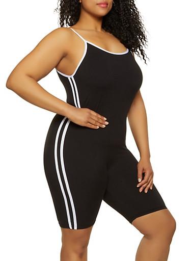 Plus Size Varsity Stripe Romper,BLACK/WHITE,large