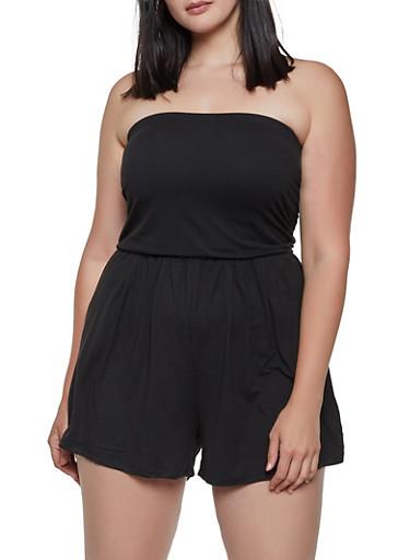 Plus Size Soft Knit Tube Romper,BLACK,large