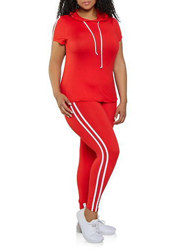 Plus Size Soft Knit Top and Leggings Set,RED,large