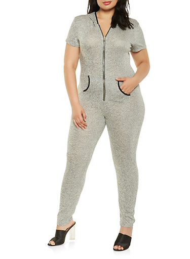 Plus Size Hooded French Terry Jumpsuit,HEATHER,large
