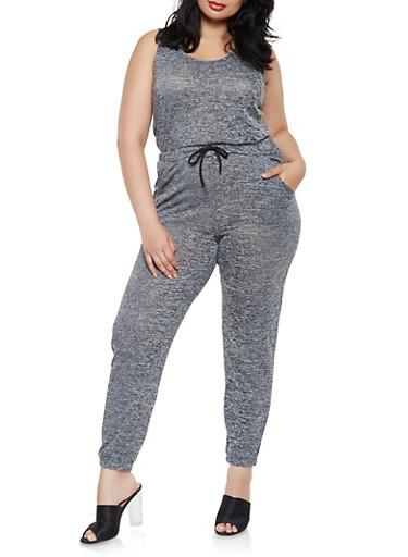 Plus Size Drawstring Waist Marled Jumpsuit,BLACK,large