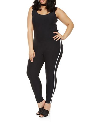 Plus Size Soft Knit Side Stripe Catsuit,BLACK,large