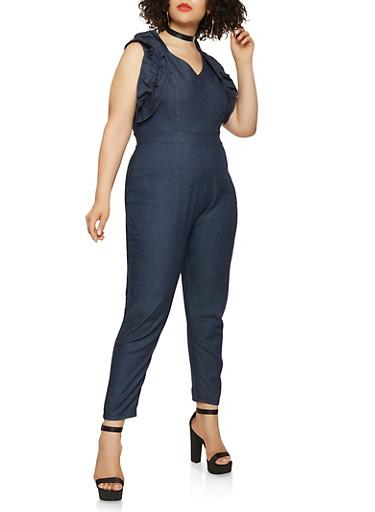 Plus Size Ruffled Denim Jumpsuit,DENIM,large