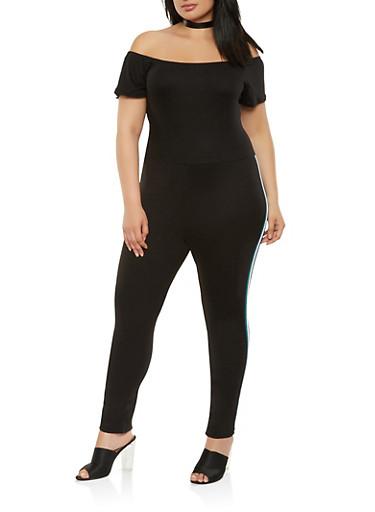 Plus Size Off the Shoulder Side Stripe Jumpsuit,BLACK,large