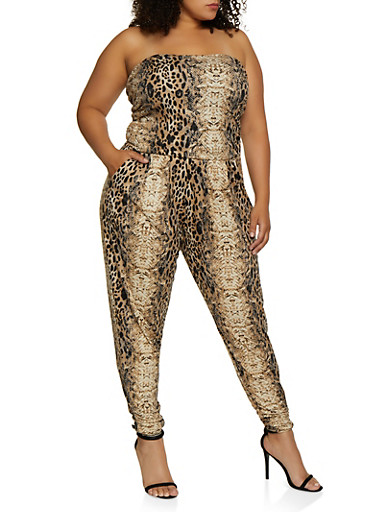 Plus Size Animal Print Tube Jumpsuit,TAN,large