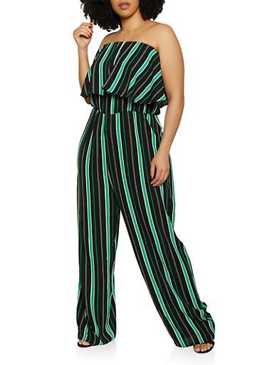 Plus Size Striped Crepe Knit Strapless Jumpsuit,BLACK/WHITE,large