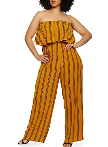 Plus Size Striped Ruffle Tube Jumpsuit,MUSTARD,large