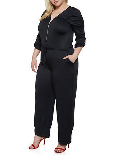 Plus Size Zip Neck Palazzo Jumpsuit,BLACK,large