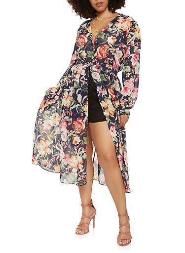 Plus Size Floral Chiffon Maxi Romper,NAVY,large