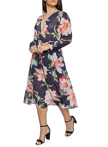 Plus Size Floral Long Sleeve Maxi Romper,NAVY,large