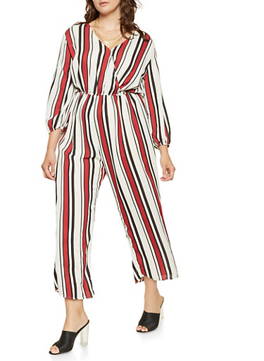 Plus Size Striped Faux Wrap Jumpsuit,IVORY,large