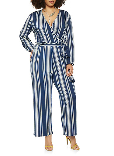 Plus Size Striped Long Sleeve Jumpsuit | Tuggl