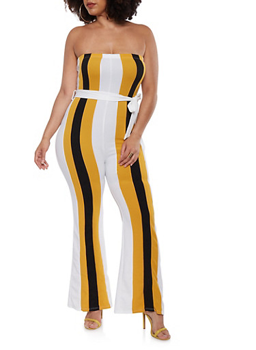 Plus Size Belted Color Block Jumpsuit,BLACK,large
