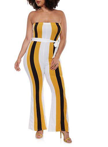 Plus Size Belted Color Block Jumpsuit | Tuggl