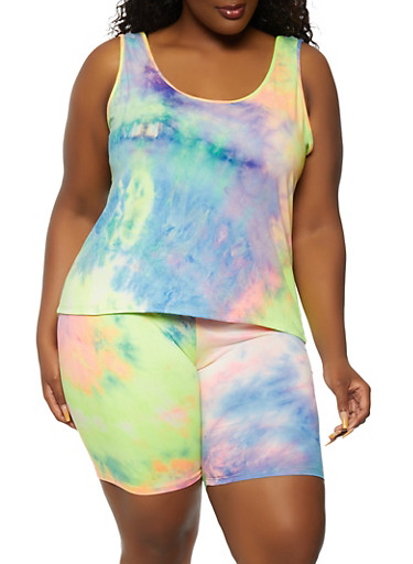 Plus Size Tie Dyed Tank Top and Biker Shorts Set,PINK,large