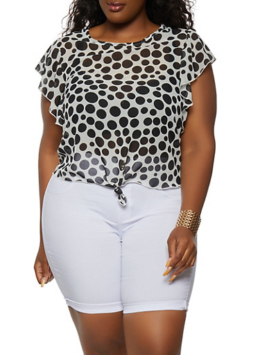 Plus Size Polka Dot Knot Front Blouse,BLACK,large