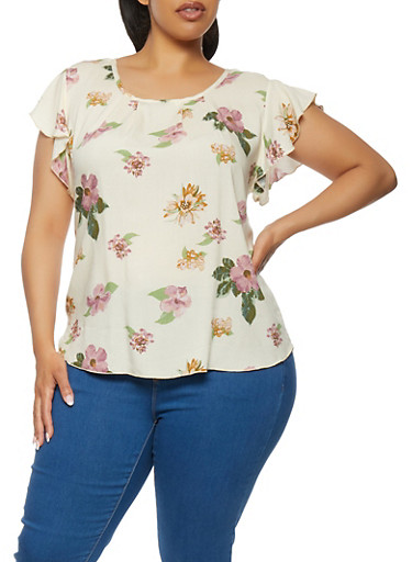 Plus Size Floral Print Flutter Sleeve Top,WHITE,large