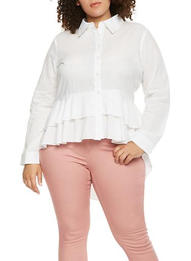 Plus Size High Low Ruffle Shirt,WHITE,large