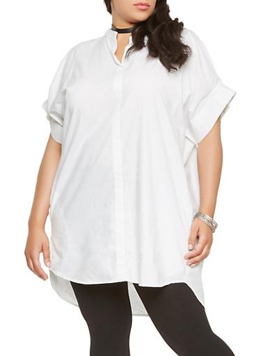 Plus Size Poplin Tunic Top,WHITE,large