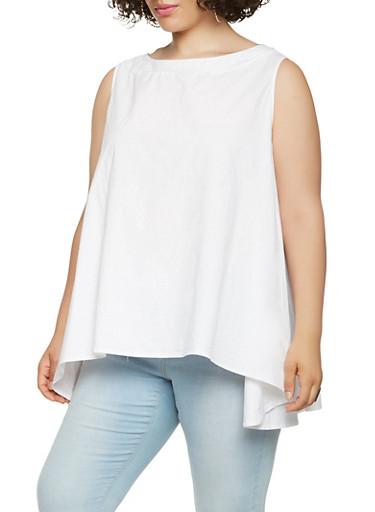 Plus Size Poplin Top,WHITE,large