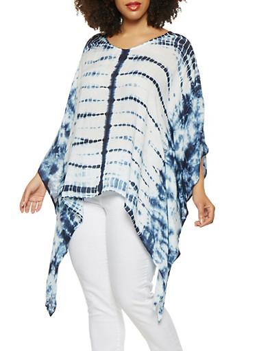 Plus Size Tie Dye Poncho,NAVY,large