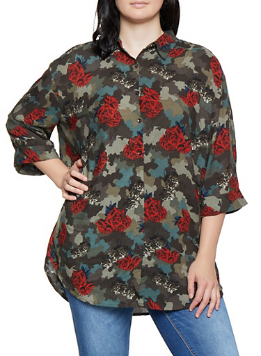 Plus Size Floral Camo Shirt,RED,large